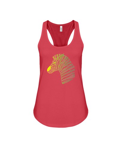 Tribal Zebra Print Tank-Top - Yellow/Green - Red / S - Clothing womens t-shirts zebras