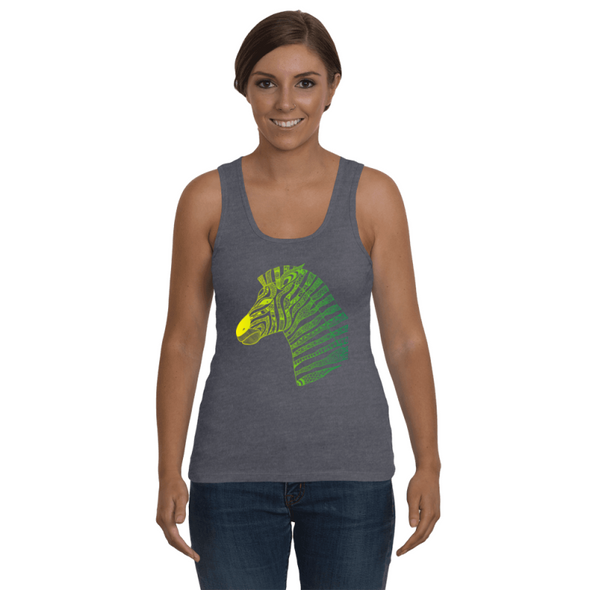 Tribal Zebra Print Tank-Top - Yellow/Green - Clothing womens t-shirts zebras