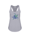 Turtle Word Cloud Tank-Top - Blue/Green - Athletic Heather / S - Clothing turtles womens t-shirts