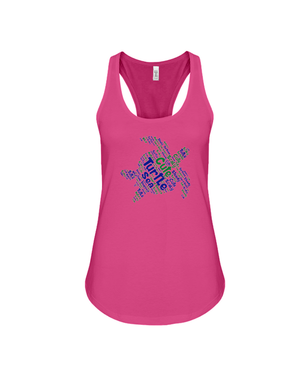 Turtle Word Cloud Tank-Top - Blue/Green - Berry / S - Clothing turtles womens t-shirts