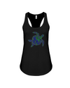 Turtle Word Cloud Tank-Top - Blue/Green - Black / S - Clothing turtles womens t-shirts