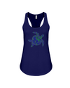 Turtle Word Cloud Tank-Top - Blue/Green - Navy / S - Clothing turtles womens t-shirts