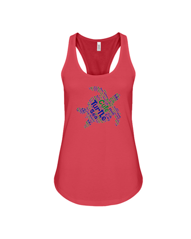 Turtle Word Cloud Tank-Top - Blue/Green - Red / S - Clothing turtles womens t-shirts