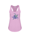 Turtle Word Cloud Tank-Top - Blue/Green - Soft Pink / S - Clothing turtles womens t-shirts