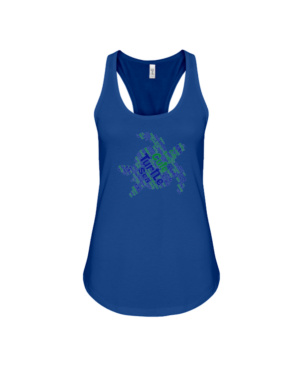 Turtle Word Cloud Tank-Top - Blue/Green - True Royal / S - Clothing turtles womens t-shirts