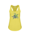 Turtle Word Cloud Tank-Top - Blue/Green - Yellow / S - Clothing turtles womens t-shirts
