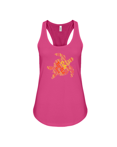 Turtle Word Cloud Tank-Top - Yellow/Orange - Berry / S - Clothing turtles womens t-shirts