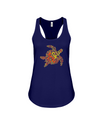 Turtle Word Cloud Tank-Top - Yellow/Orange - Navy / S - Clothing turtles womens t-shirts