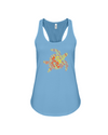 Turtle Word Cloud Tank-Top - Yellow/Orange - Ocean Blue / S - Clothing turtles womens t-shirts