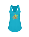Turtle Word Cloud Tank-Top - Yellow/Orange - Turquoise / S - Clothing turtles womens t-shirts