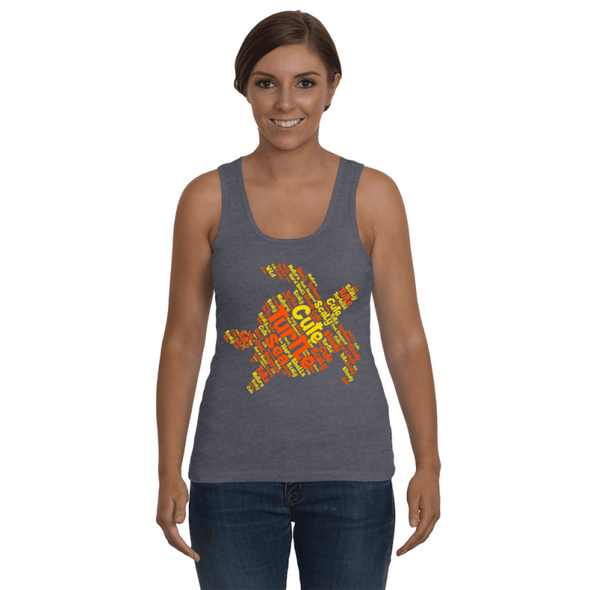 Turtle Word Cloud Tank-Top - Yellow/Orange - Clothing turtles womens t-shirts