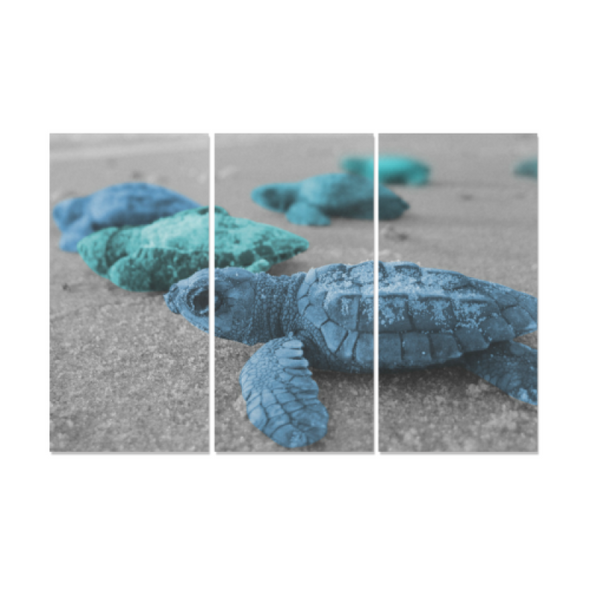 Turtles On The Beach - Canvas Wall Art - Blue Turquoise Turtles - Wall Art canvas prints turtles