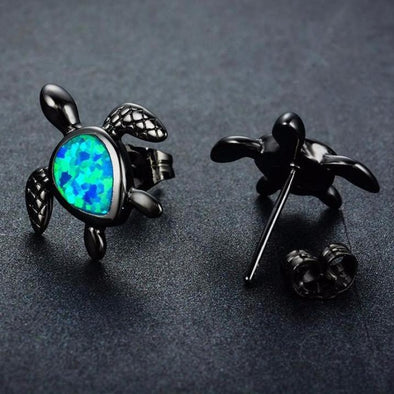 Vintage Black & Fire Blue Opal Turtle Earrings - Small - Jewelry Earrings Opal Turtles