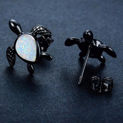 Vintage Black & White Opal Turtle Earrings - Small - Jewelry earrings opal turtles