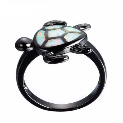 White Fire Opal & Black Chrome Turtle Ring - Jewelry opal rings turtles