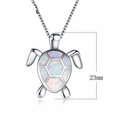 White Opal Turtle Pendant & Necklace - Jewelry necklaces opal turtles