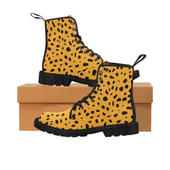 Womens Canvas Ankle Boots - Custom Cheetah Pattern - Orange Cheetah / US6.5 - Footwear ankle boots boots cheetahs