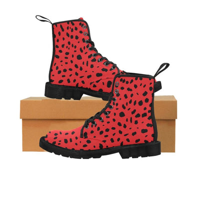 Womens Canvas Ankle Boots - Custom Cheetah Pattern - Red Cheetah / US6.5 - Footwear ankle boots boots cheetahs