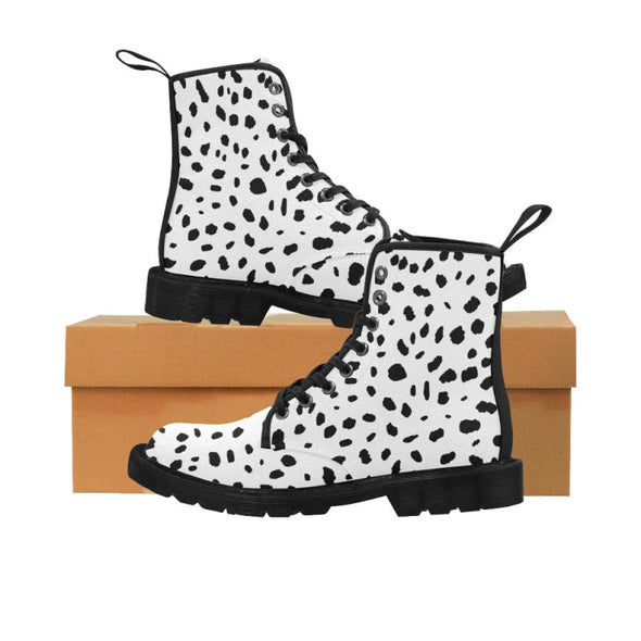 Womens Canvas Ankle Boots - Custom Cheetah Pattern - White Cheetah / US6.5 - Footwear ankle boots boots cheetahs