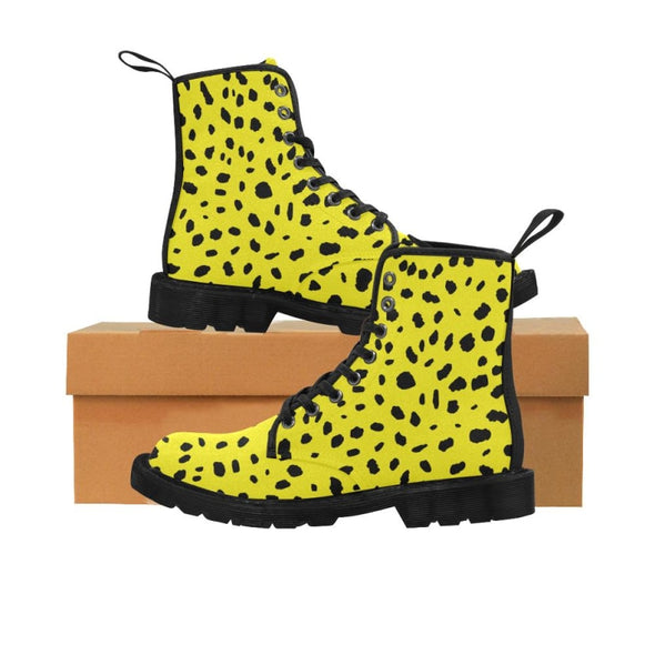 Womens Canvas Ankle Boots - Custom Cheetah Pattern - Yellow Cheetah / US6.5 - Footwear ankle boots boots cheetahs