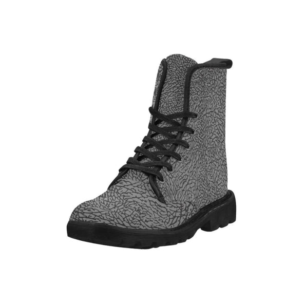 Womens Canvas Ankle Boots - Custom Elephant Pattern - Footwear Ankle Boots Boots Elephants