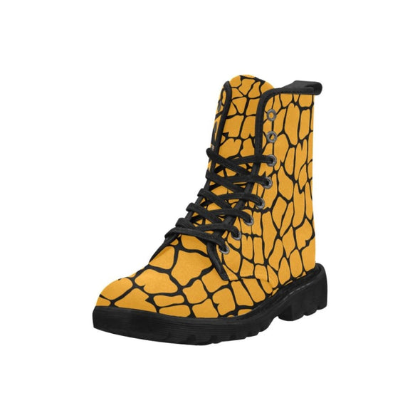 Womens Canvas Ankle Boots - Custom Giraffe Pattern - Footwear ankle boots boots giraffes