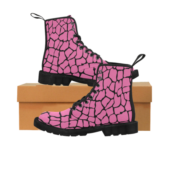 Womens Canvas Ankle Boots - Custom Giraffe Pattern - Hot Pink Giraffe / US6.5 - Footwear ankle boots boots giraffes