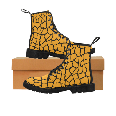 Womens Canvas Ankle Boots - Custom Giraffe Pattern - Orange Giraffe / US6.5 - Footwear ankle boots boots giraffes
