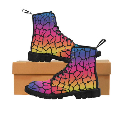 Womens Canvas Ankle Boots - Custom Giraffe Pattern - Rainbow Giraffe / US6.5 - Footwear ankle boots boots giraffes