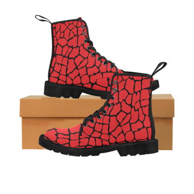 Womens Canvas Ankle Boots - Custom Giraffe Pattern - Red Giraffe / US6.5 - Footwear ankle boots boots giraffes