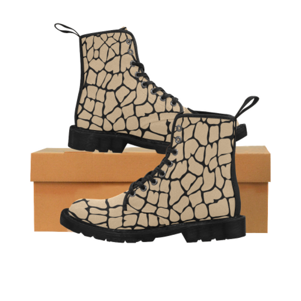 Womens Canvas Ankle Boots - Custom Giraffe Pattern - Tan Giraffe / US6.5 - Footwear ankle boots boots giraffes