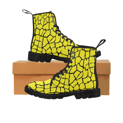 Womens Canvas Ankle Boots - Custom Giraffe Pattern - Yellow Giraffe / US6.5 - Footwear ankle boots boots giraffes