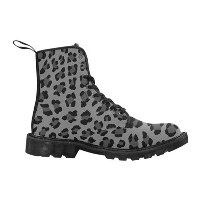 Womens Canvas Ankle Boots - Custom Leopard Pattern - Footwear Ankle Boots Big Cats Boots Leopards