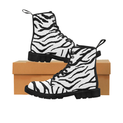 Womens Canvas Ankle Boots - Custom Tiger Pattern - US6.5 / White Tiger - Footwear ankle boots big cats boots tigers