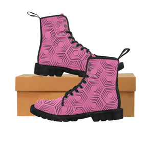 Womens Canvas Ankle Boots - Custom Turtle Pattern - Hot Pink Turtle / US6.5 - Footwear ankle boots boots turtles