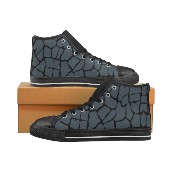 Womens Chucks High Top Sneakers - Custom Giraffe Pattern w/Black Background - Charcoal Giraffe / US6 - Footwear chucks sneakers giraffes
