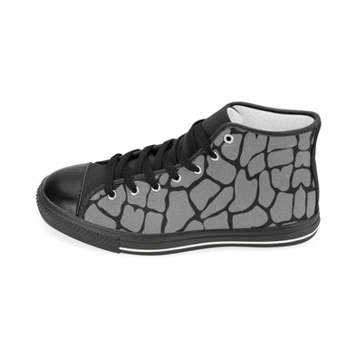 Womens Chucks High Top Sneakers - Custom Giraffe Pattern w/Black Background - Footwear chucks sneakers giraffes sneakers