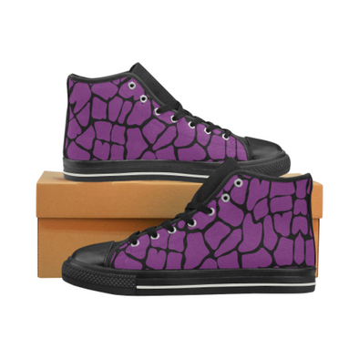 Womens Chucks High Top Sneakers - Custom Giraffe Pattern w/Black Background - Purple Giraffe / US6 - Footwear chucks sneakers giraffes