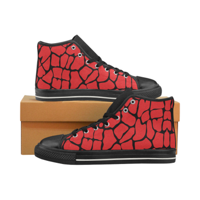 Womens Chucks High Top Sneakers - Custom Giraffe Pattern w/Black Background - Red Giraffe / US6 - Footwear chucks sneakers giraffes sneakers
