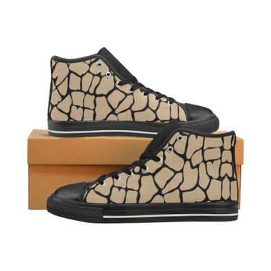 Womens Chucks High Top Sneakers - Custom Giraffe Pattern w/Black Background - Tan Giraffe / US6 - Footwear chucks sneakers giraffes sneakers
