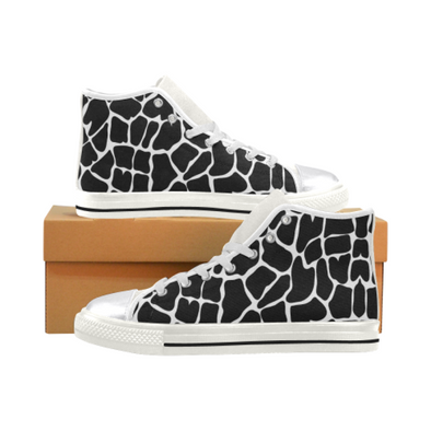 Womens Chucks High Top Sneakers - Custom Giraffe Pattern w/White Background - Black Giraffe / US6 - Footwear chucks sneakers giraffes