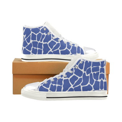 Womens Chucks High Top Sneakers - Custom Giraffe Pattern w/White Background - Blue Giraffe / US6 - Footwear chucks sneakers giraffes