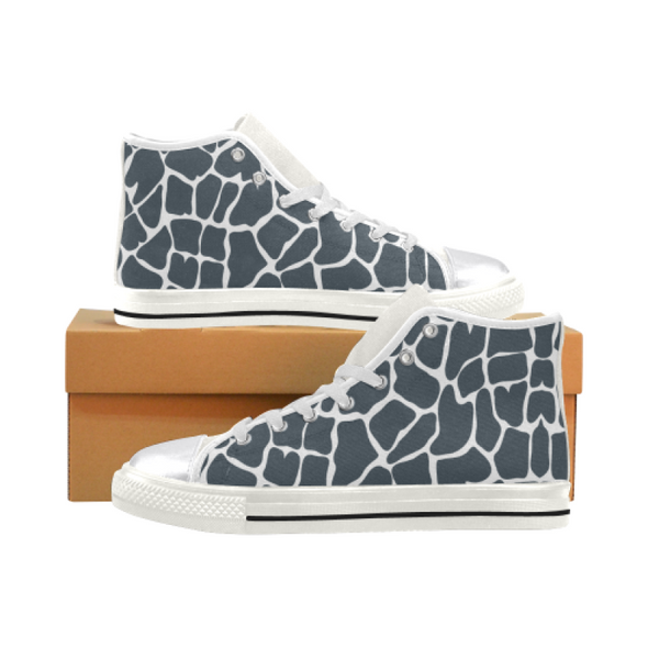Womens Chucks High Top Sneakers - Custom Giraffe Pattern w/White Background - Charcoal Giraffe / US6 - Footwear chucks sneakers giraffes