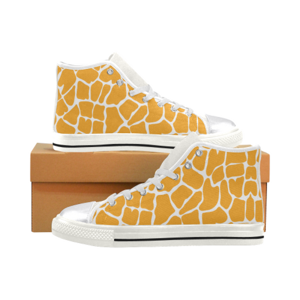 Womens Chucks High Top Sneakers - Custom Giraffe Pattern w/White Background - Orange Giraffe / US6 - Footwear chucks sneakers giraffes