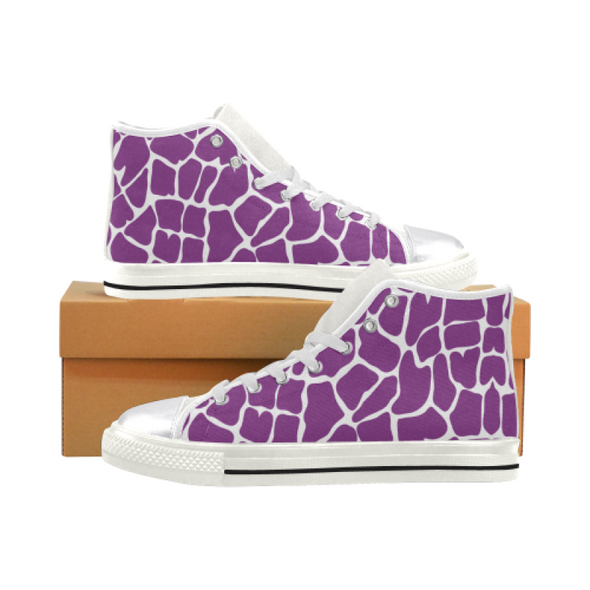 Womens Chucks High Top Sneakers - Custom Giraffe Pattern w/White Background - Purple Giraffe / US6 - Footwear chucks sneakers giraffes