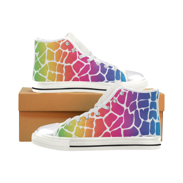 Womens Chucks High Top Sneakers - Custom Giraffe Pattern w/White Background - Rainbow Giraffe / US6 - Footwear chucks sneakers giraffes
