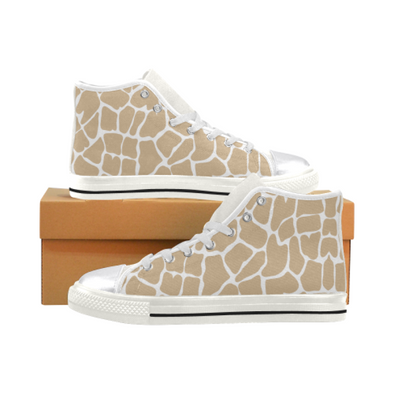 Womens Chucks High Top Sneakers - Custom Giraffe Pattern w/White Background - Tan Giraffe / US6 - Footwear chucks sneakers giraffes sneakers