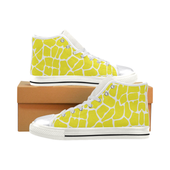 Womens Chucks High Top Sneakers - Custom Giraffe Pattern w/White Background - Yellow Giraffe / US6 - Footwear chucks sneakers giraffes