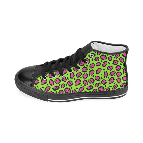 Womens Chucks High Top Sneakers - Custom Jaguar Pattern - Footwear big cats chucks sneakers jaguars sneakers
