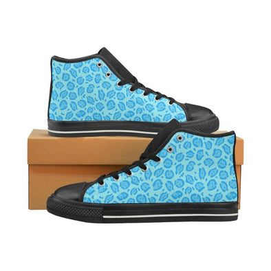 Womens Chucks High Top Sneakers - Custom Jaguar Pattern - US6 / Woman / Blue Jaguar - Footwear big cats chucks sneakers jaguars sneakers
